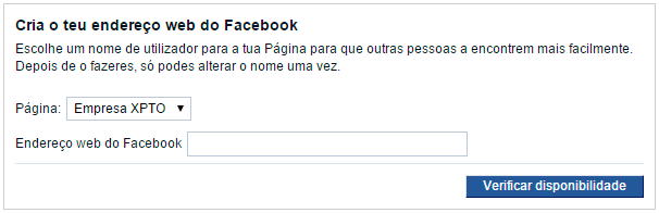 Criar endereço Facebook