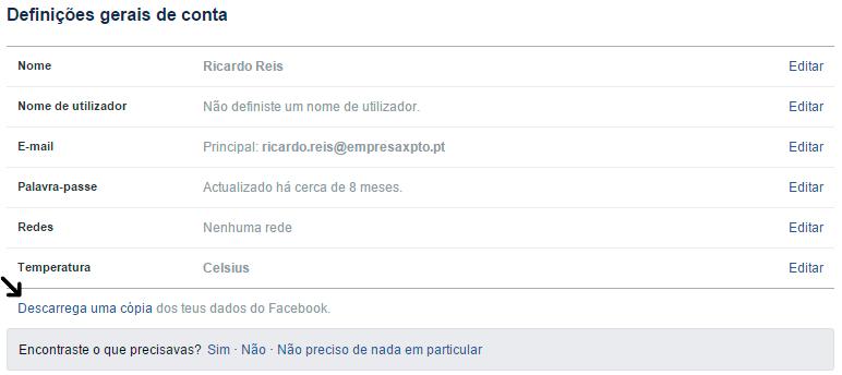 Converter perfil em página Facebook