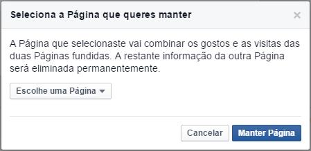 Fundir páginas Facebook