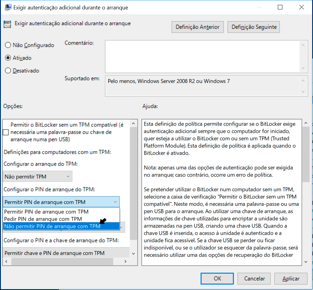 TPM, PIN e pen no BitLocker